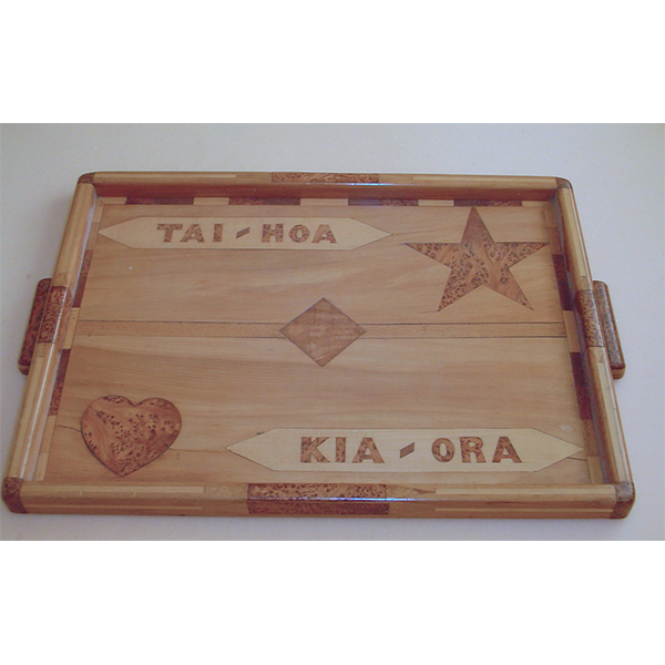wooden serving tray set